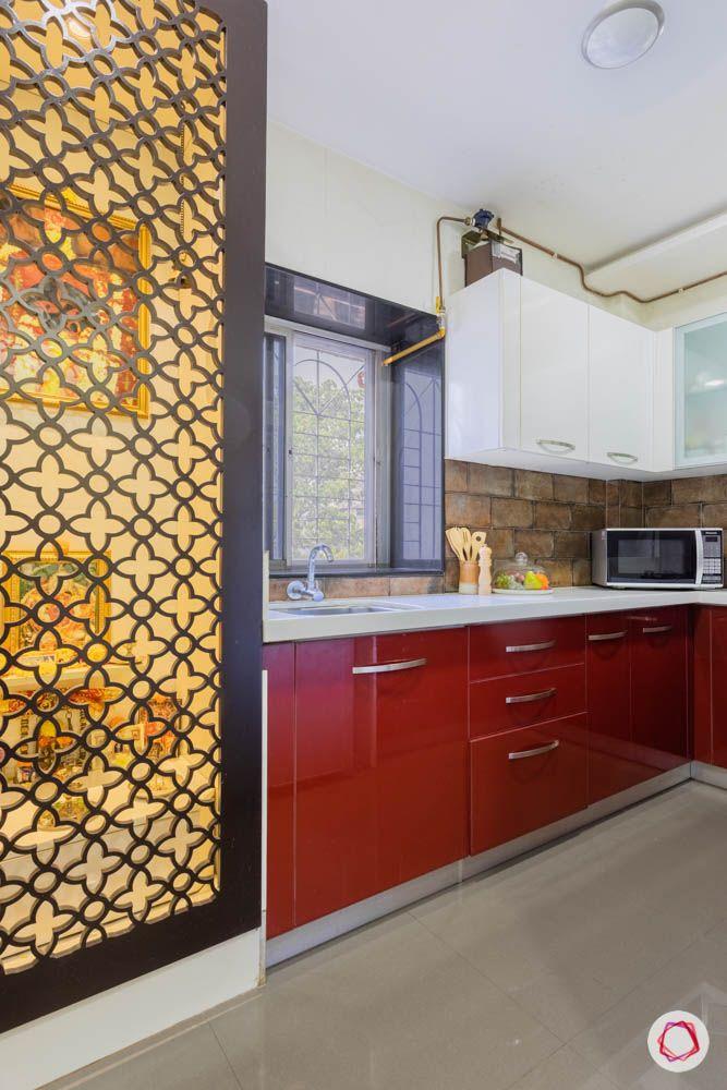 modern house images-pooja unit-jaali door-pooja unit in kitchen