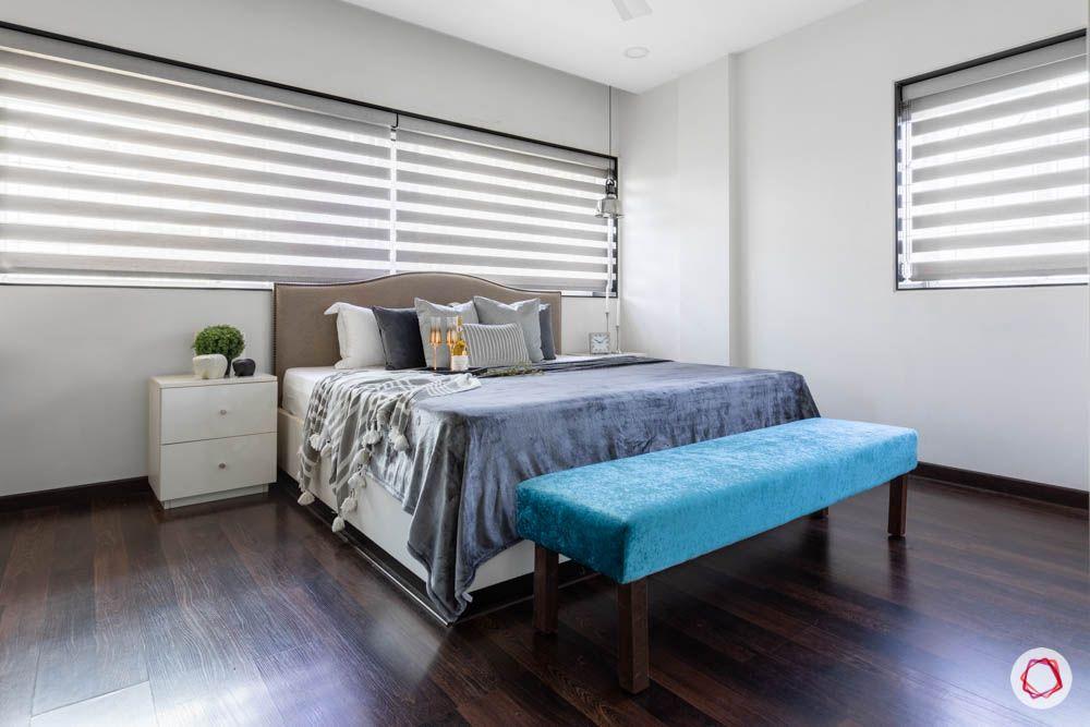 modern house images-master bedroom-wooden flooring-bed bench