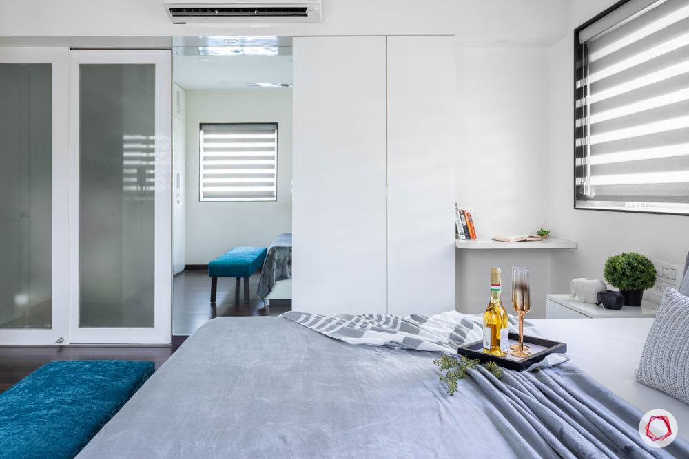 modern house images-master bedroom-full mirror-dresser unit-frosted glass door