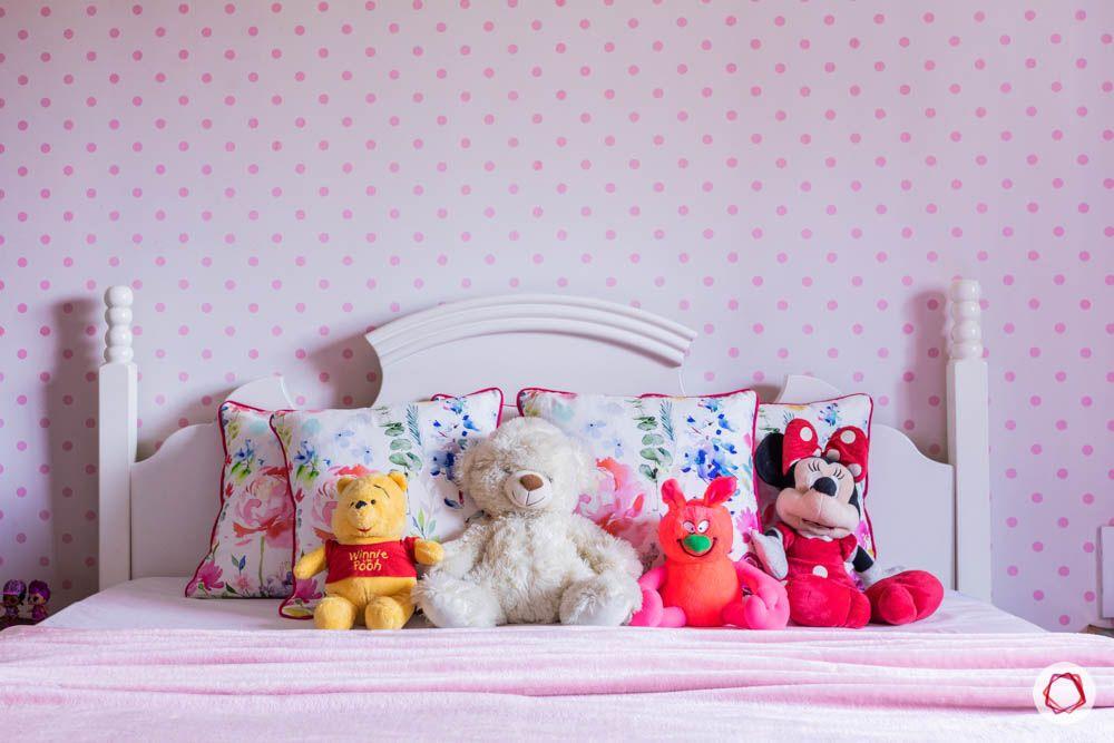 modern house images-kids room-carved headboard-polka dot wallpaper