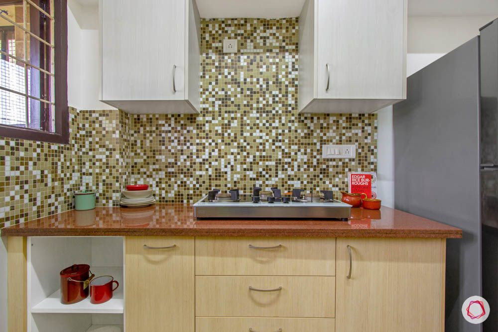Simple kitchen designs for Indian homes-cabinets-counter-granite-stove