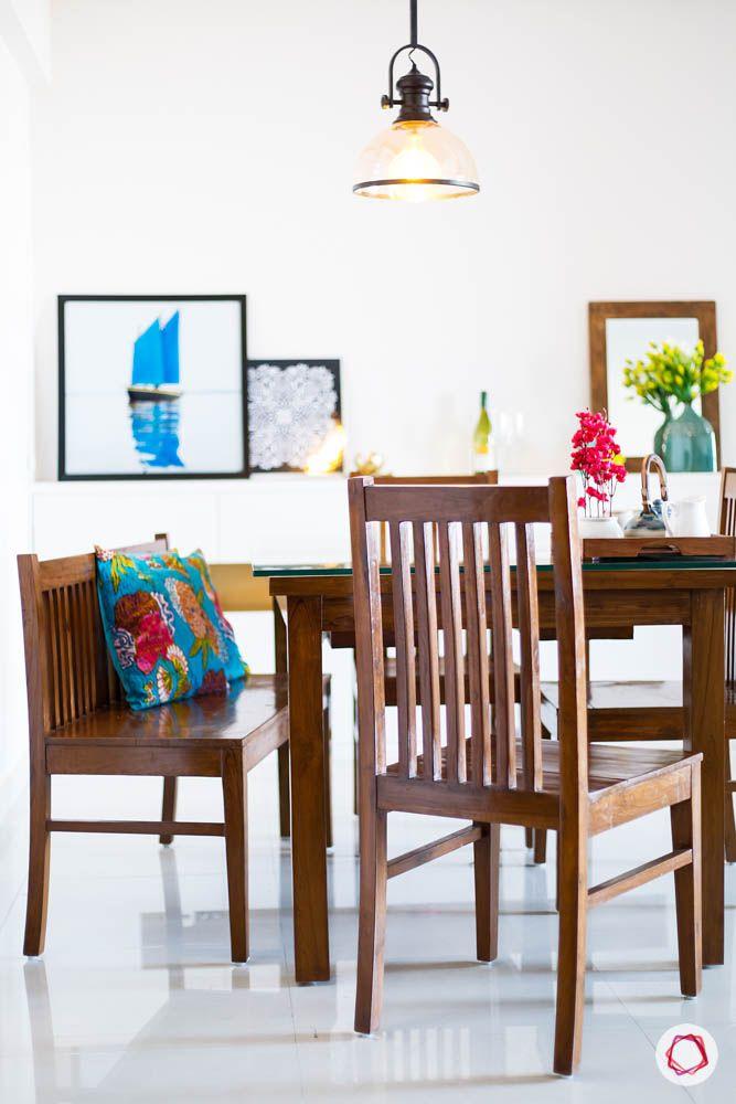 hanging lights-pendant lights for central lighting-wooden dining set designs