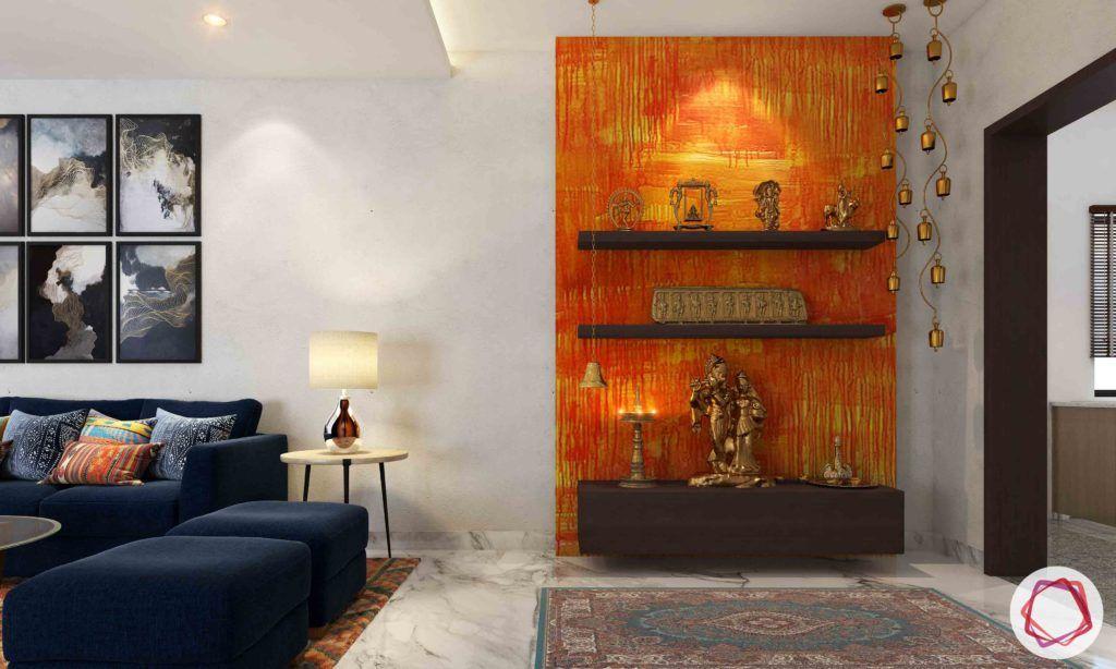 vastu colours for pooja room-orange wall-orange pooja room-metal god-pooja unit