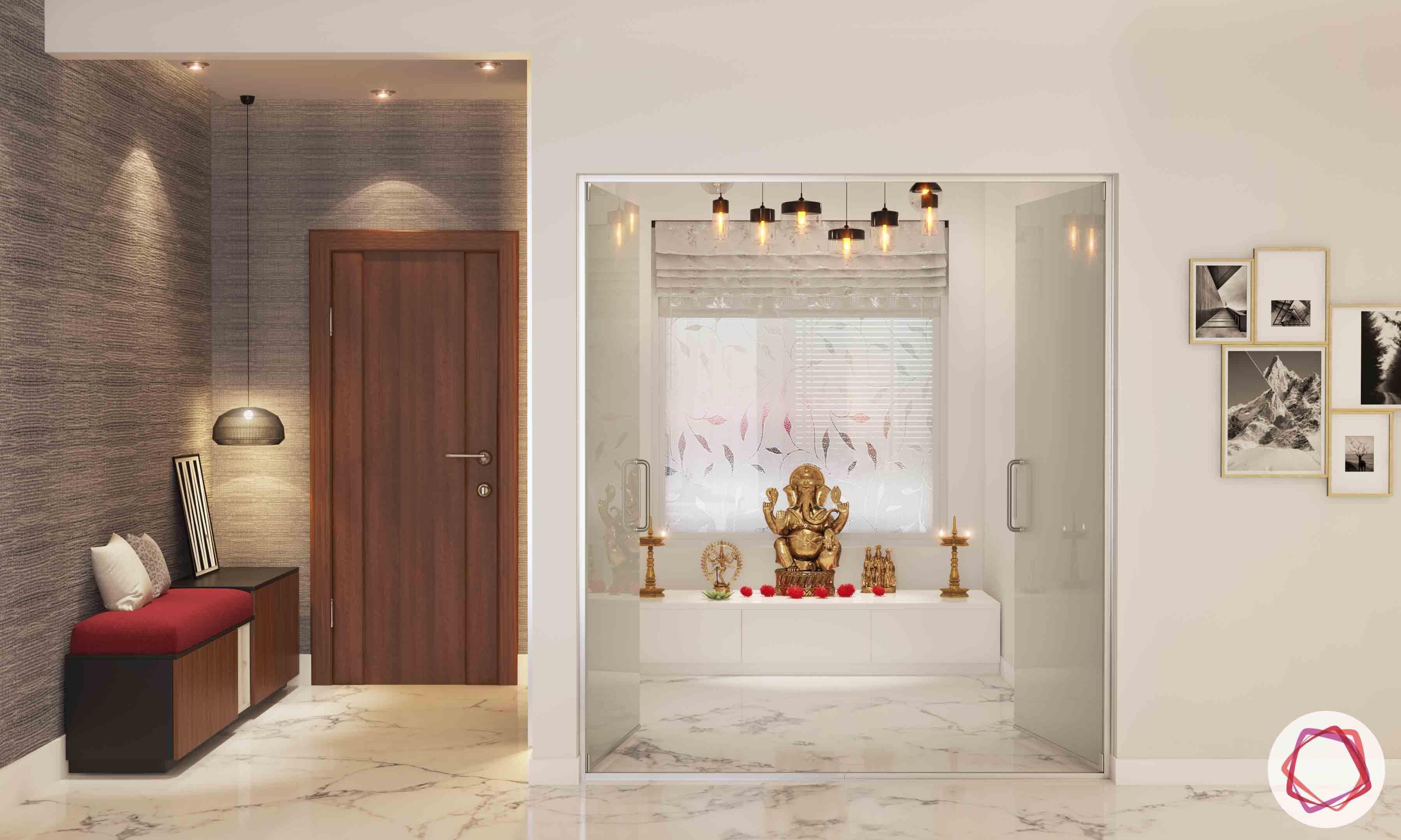 vastu colours for pooja room-white pooja room-marble flooring-glass pooja door