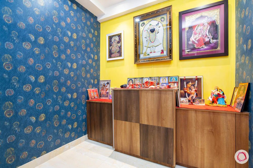jaypee greens noida-blue wallpaper designs-pooja room designs