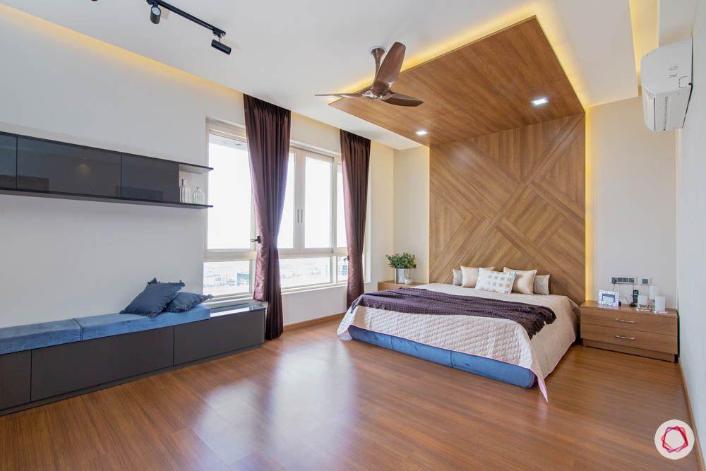 jaypee greens noida-wooden flooring designs-cushioned bench designs
