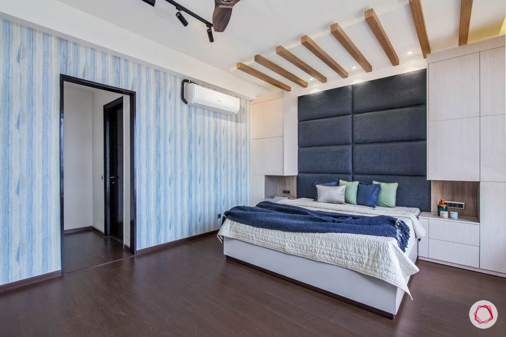 jaypee greens noida-wooden flooring designs-blue headboard designs