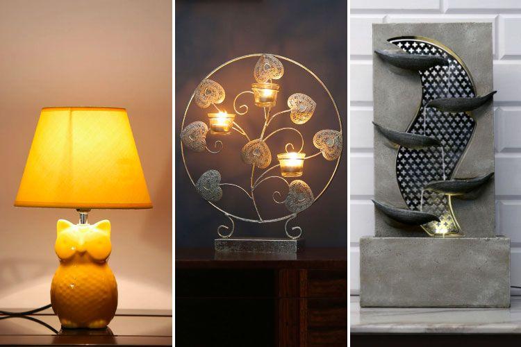 raksha bandhan-athome-owl lamp-candle holder-waterfall