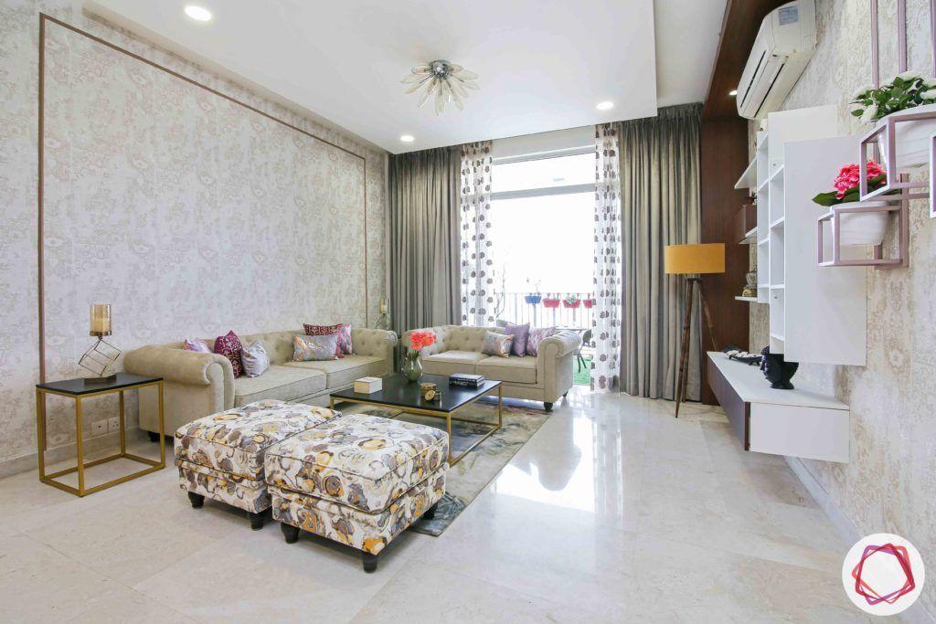 ireo victory valley-living room-ottomans-cassandra sofa-beige wallpaper