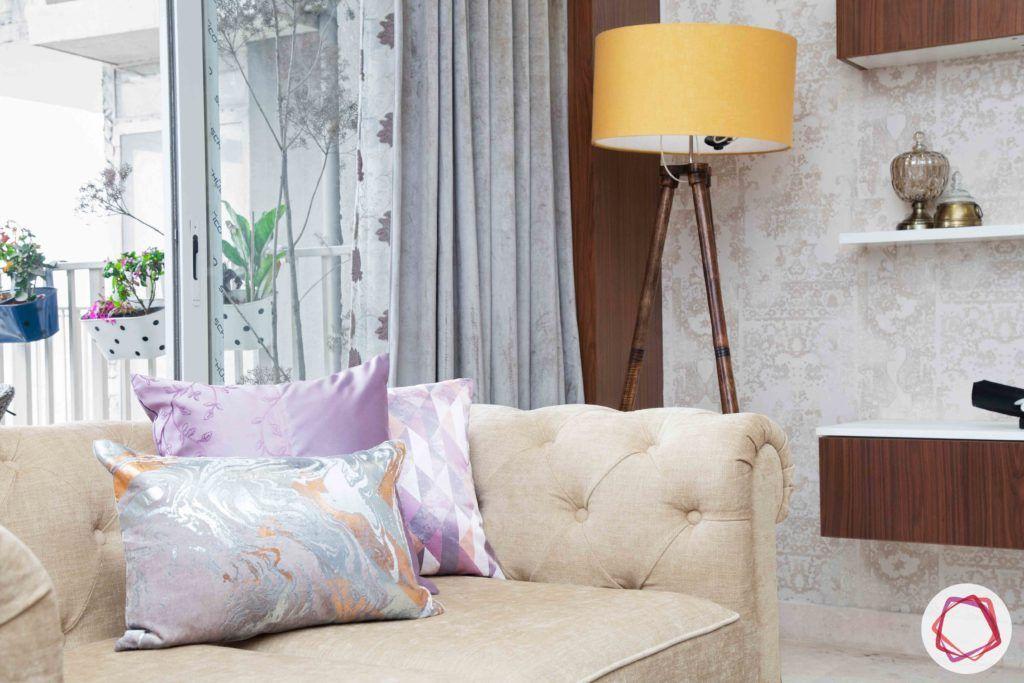 ireo victory valley-living room-beige sofa-yellow floor lamp