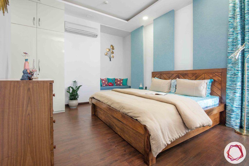 ireo victory valley-master bedroom-wooden flooring-wooden bed-wooden sideboard