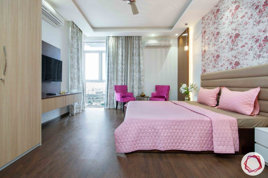 ireo victory valley-floral bedroom-floral wallpaper-beige headboard