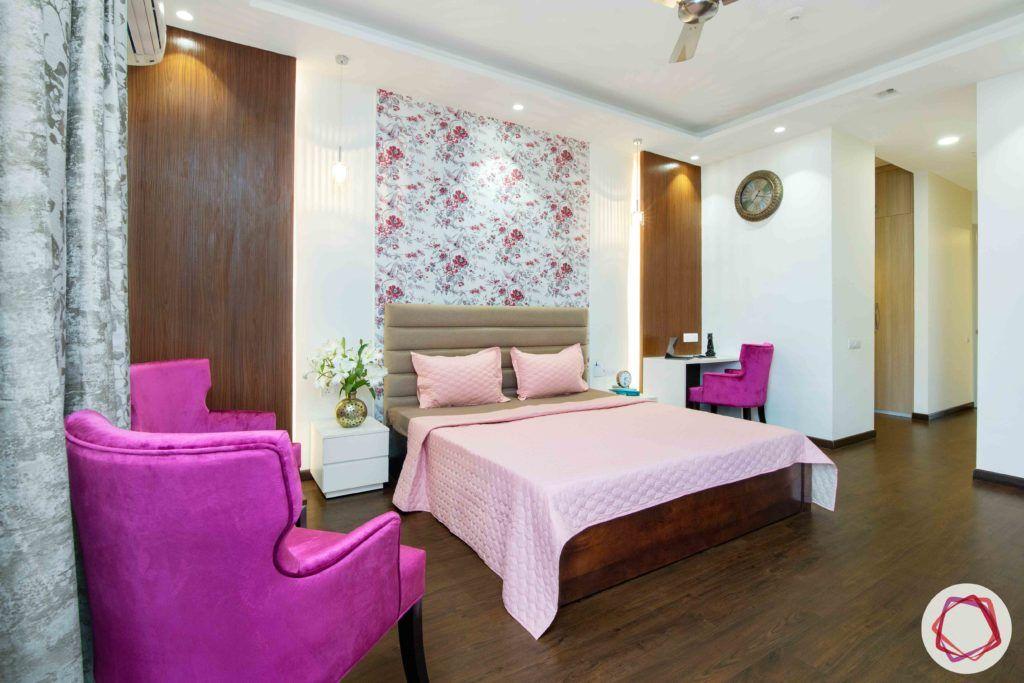 ireo victory valley-floral bedroom-veneer panels-panelled headboard-fuschia chairs