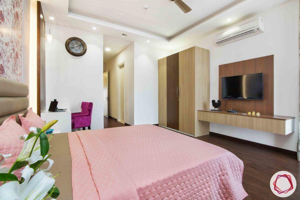 ireo victory valley-floral bedroom-laminate tv unit-wooden wardrobe