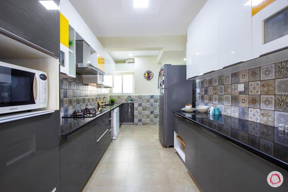 Vaswani Brentwood-slate-grey-kitchen-cabinets-white-orange-dado-tiles