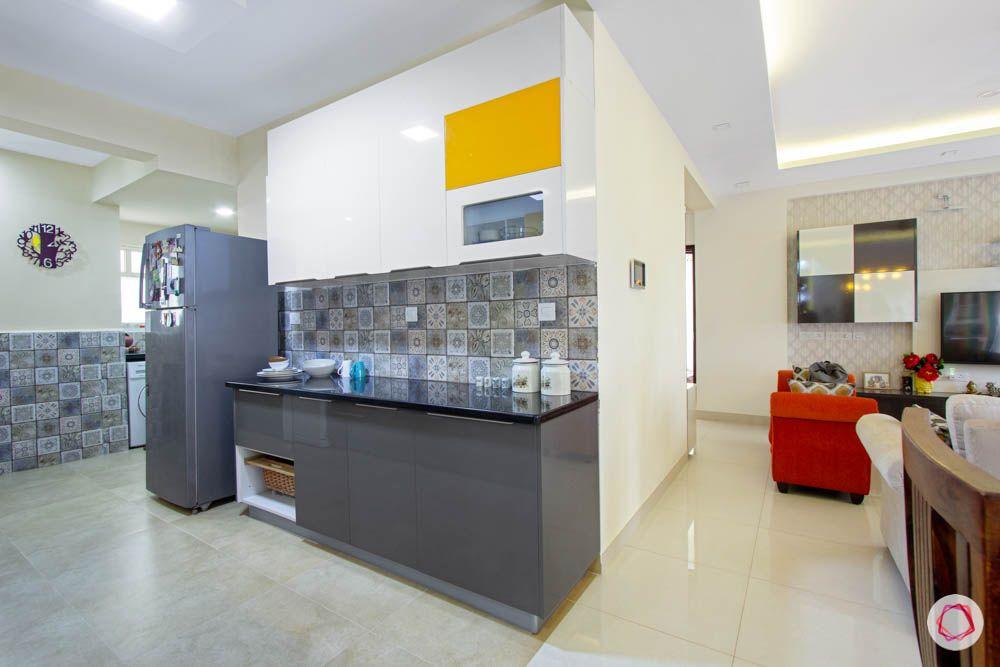 Vaswani Brentwood-slate-grey-kitchen-cabinets-white-orange-fridge