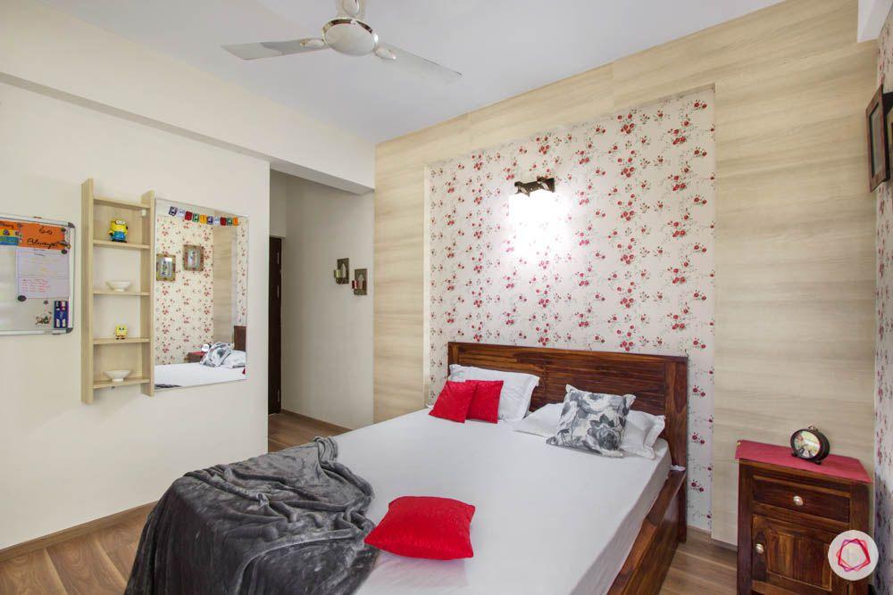 daughter-bedroom-laminate-panel-wallpaper-bed-blinds-dressing-unit