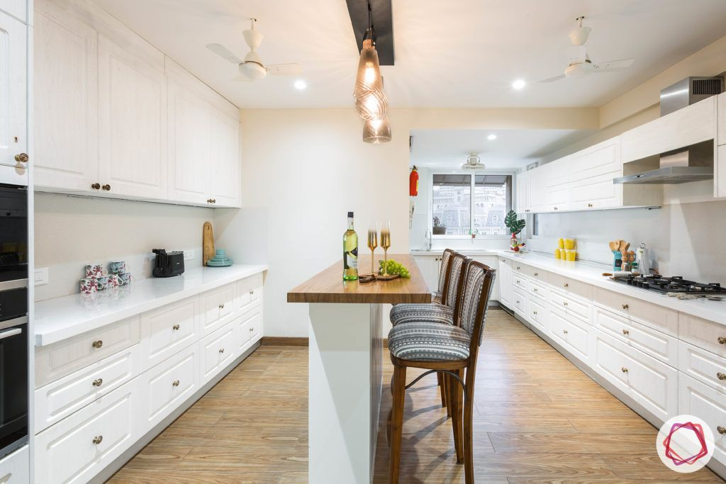 kitchen island designs-white-country-style-accent-lights-high-chairs-cabinets