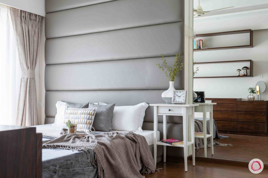 dream room-grey headboard designs-wall mirror ideas