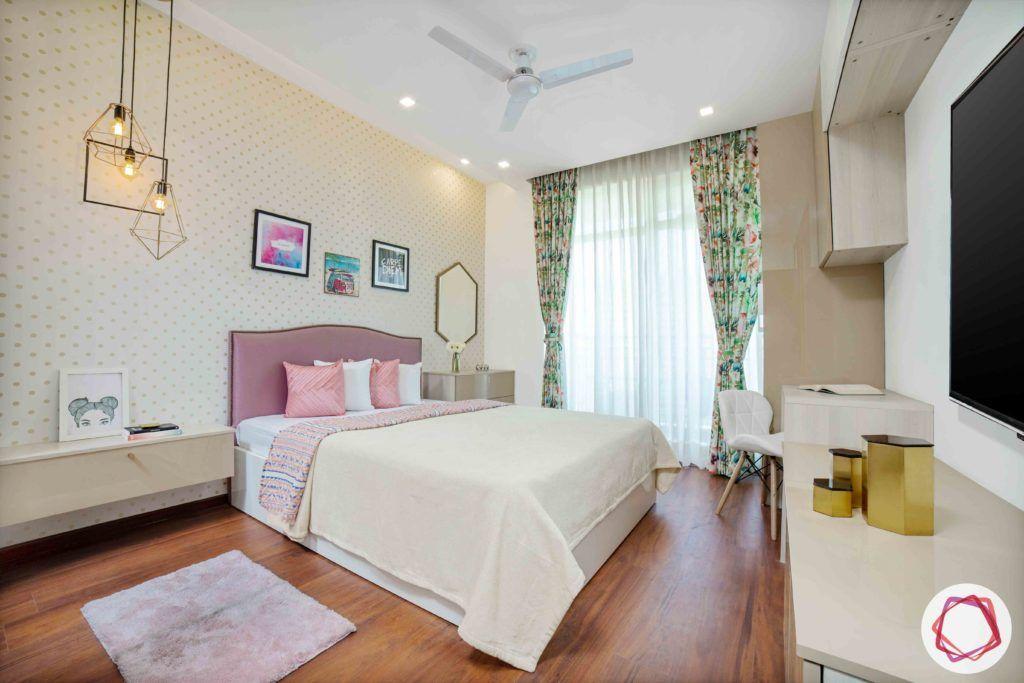 dream room-polka dotted wallpaper designs-wooden flooring designs