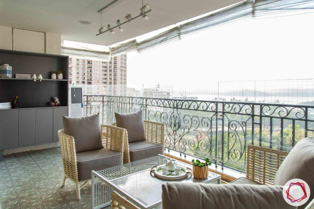 modern balcony design-wicker furniture-wicker chairs-wicker table
