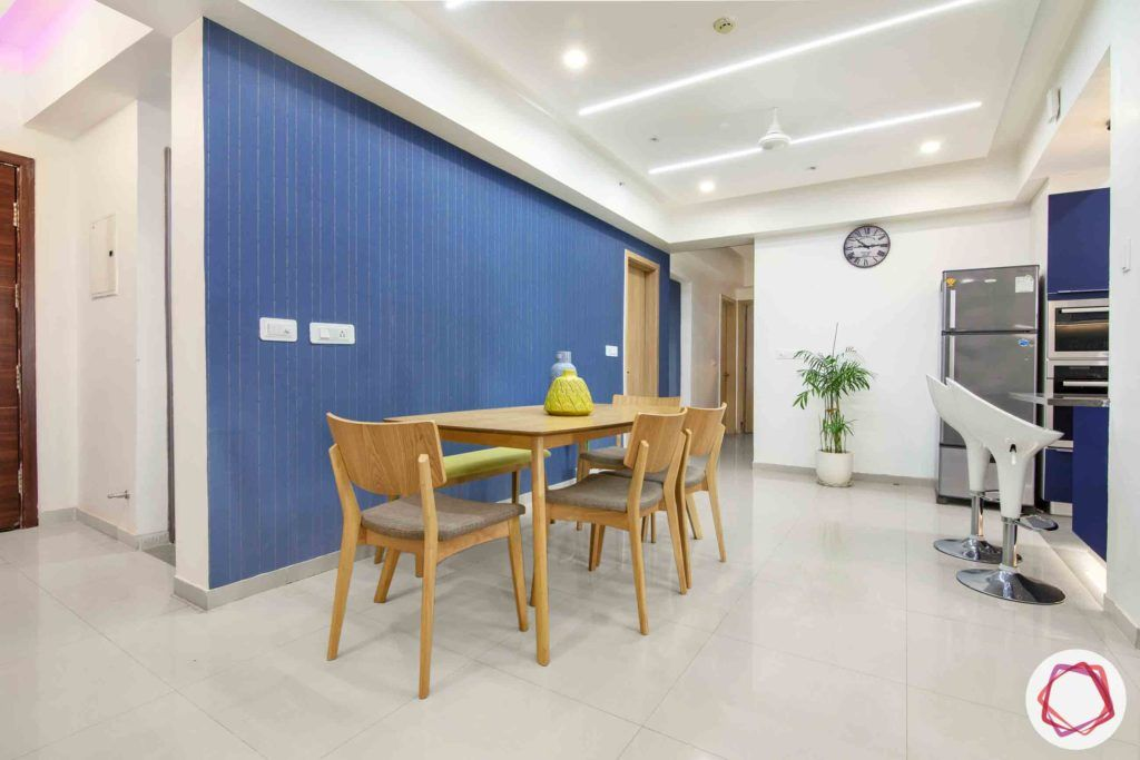 dlf new town heights-blue wallpaper designs-dining table designs
