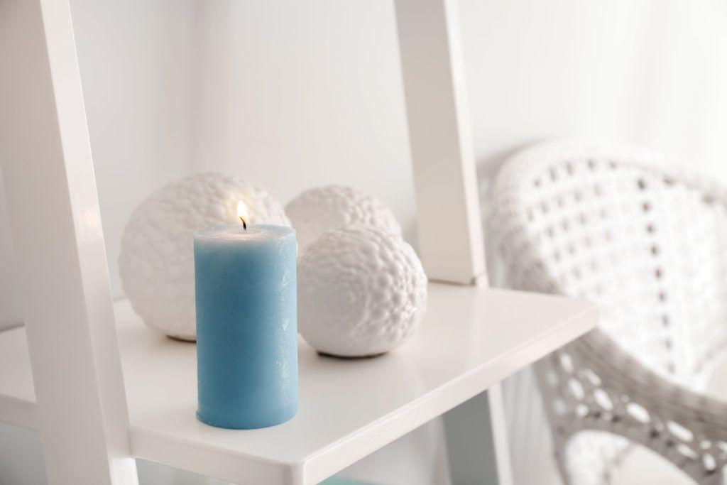 corner light-white ladder cabinet designs-blue candle designs
