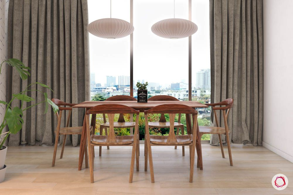 dining-table-lights-chairs-wood-curtain-flooring-potted-plants