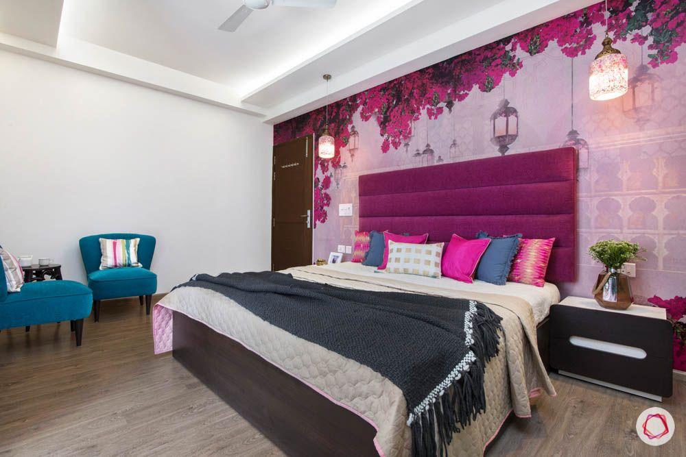 cleo county-master bedroom-magenta headboard-designer wallpaper