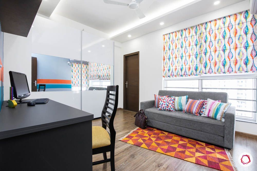 cleo county-study room-sofa-cum-bed-printed blinds