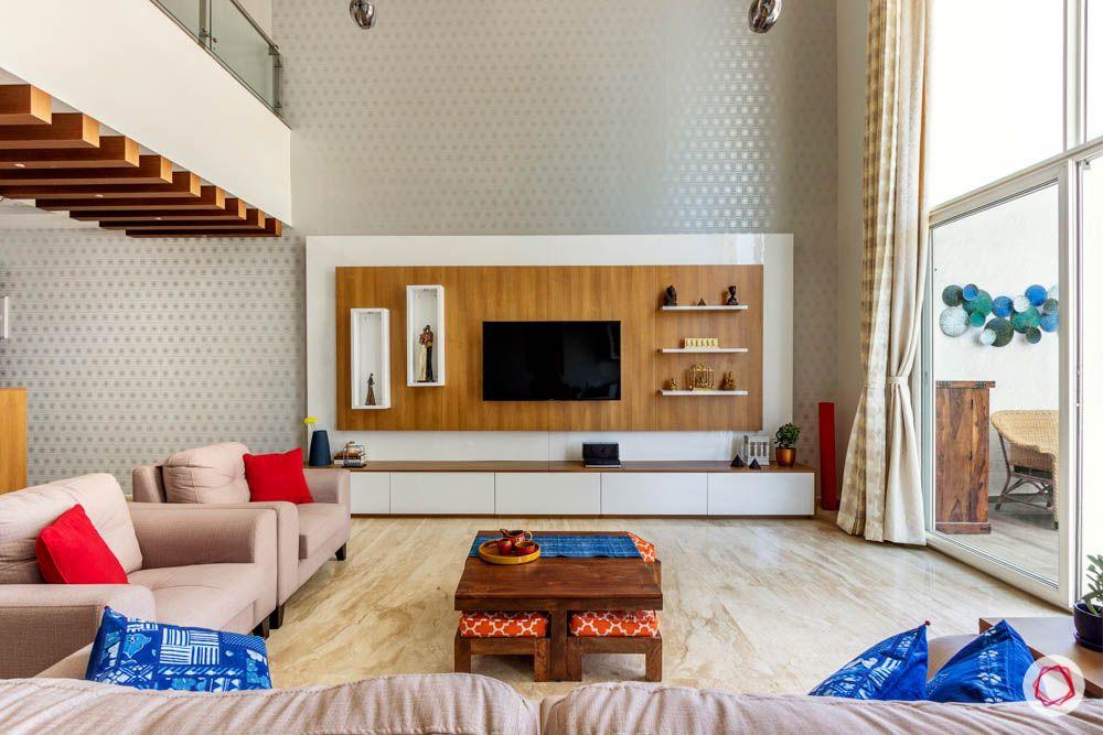 wooden rafter designs-minimal tv unit designs