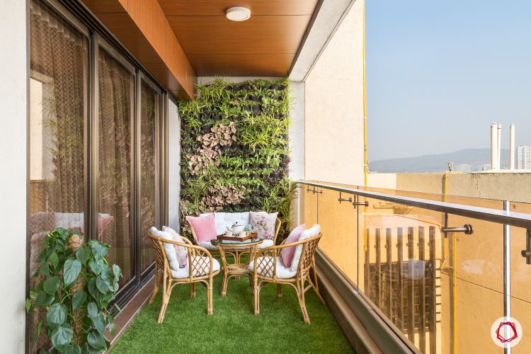 balcony garden-cane furniture-pink cushions