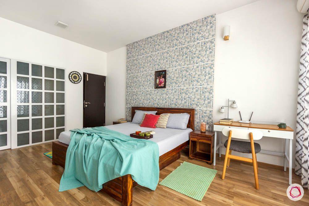 wooden bed designs-blue wallpaper designs