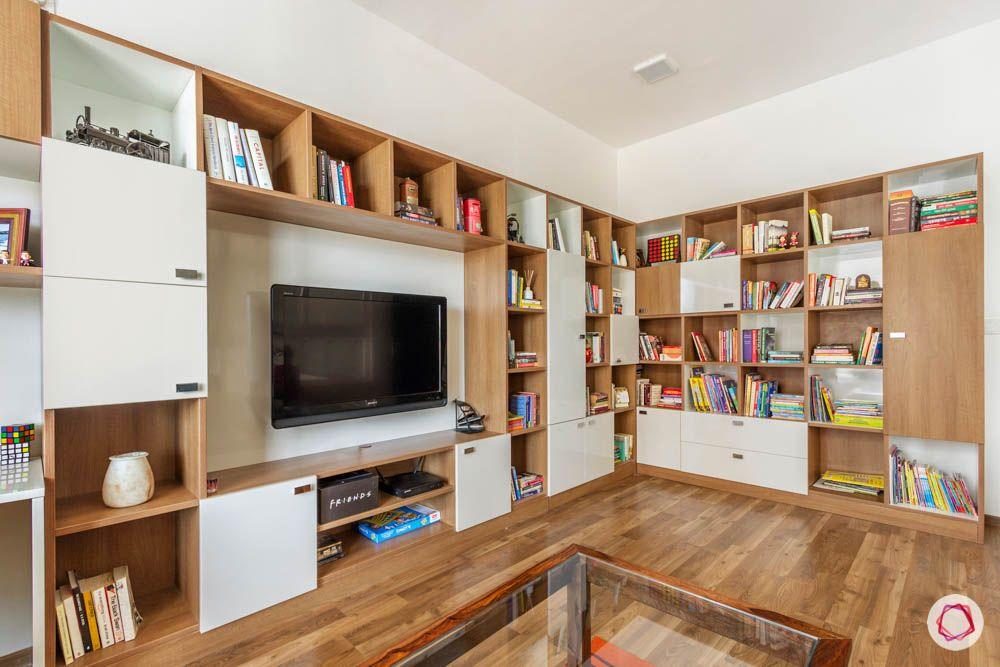 wooden flooring designs-l-shaped book shelf designs