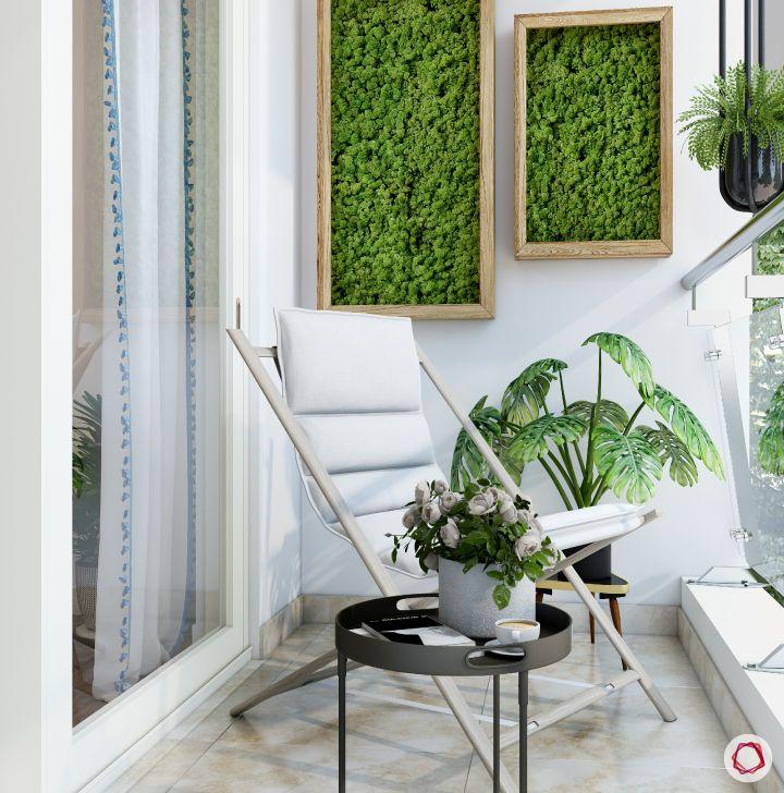 balcony garden-palm leaves plant-white lawn chair