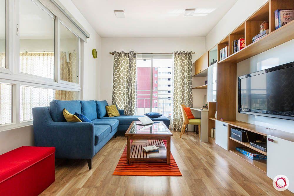wooden flooring designs-blue sofa designs