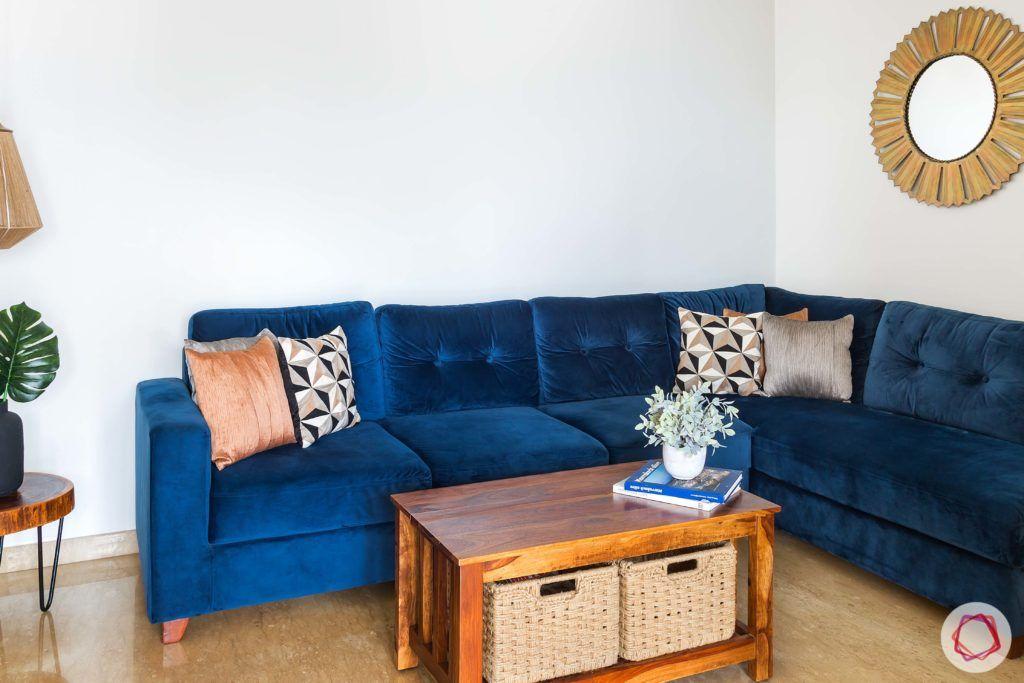 velvet fabric-blue velvet sofa