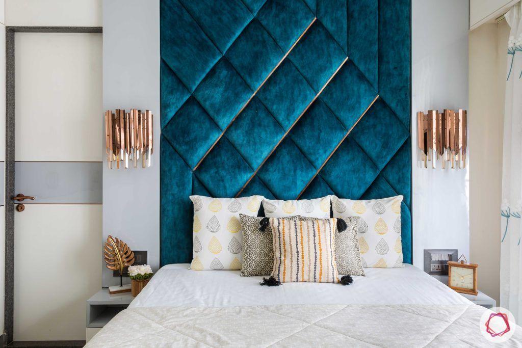 velvet fabric-blue headboard-velvet headboard-velvet upholstered headboard