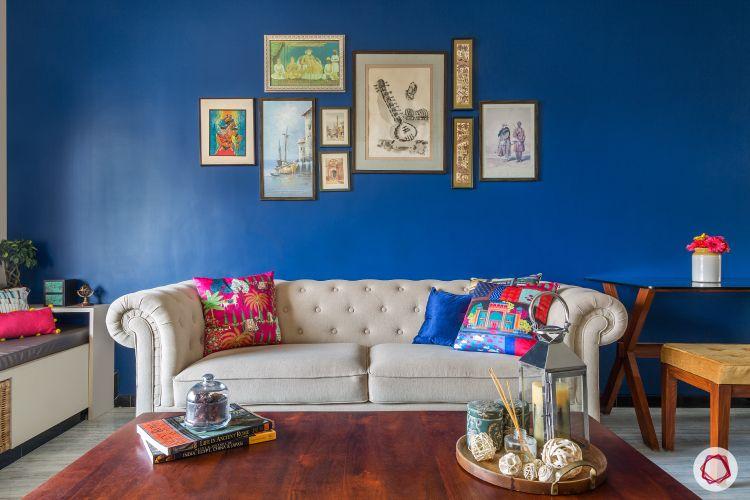 ndian home-blue wall ideas-white sofa designs
