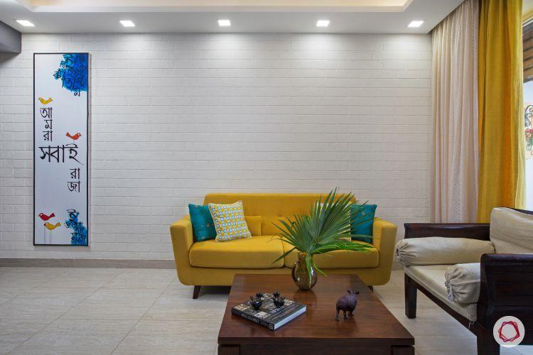 indian home-white wall ideas-yellow sofa designs