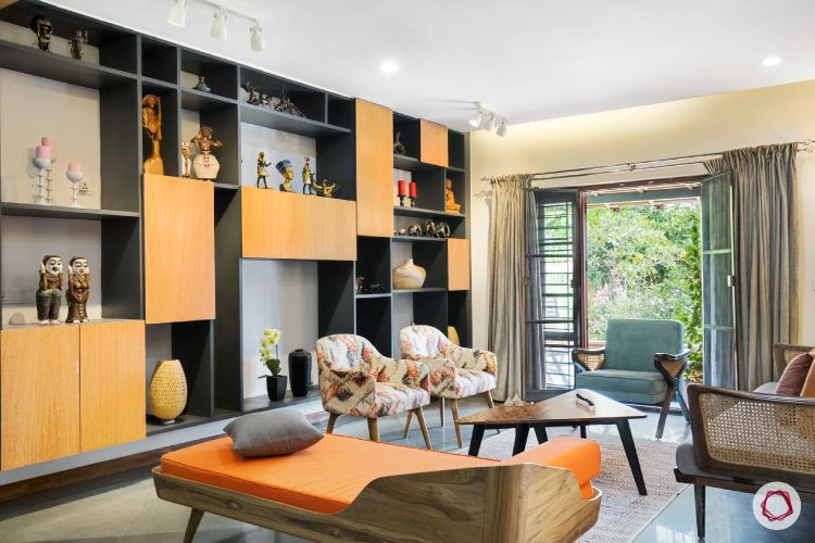 indian home-orange display unit designs-orange daybed designs
