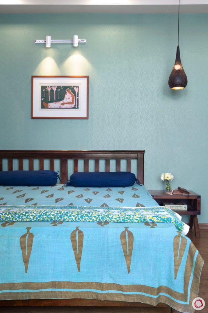 indian home-blue bedsheet designs-blue wall ideas