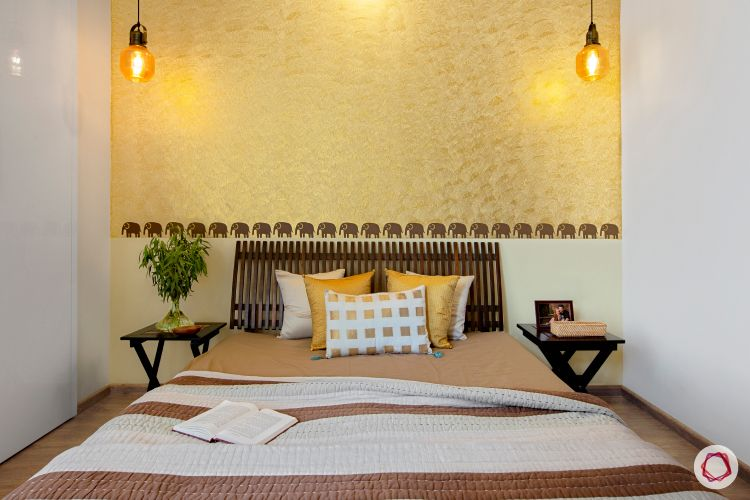 indian home-gold wall ideas-wooden headboard designs