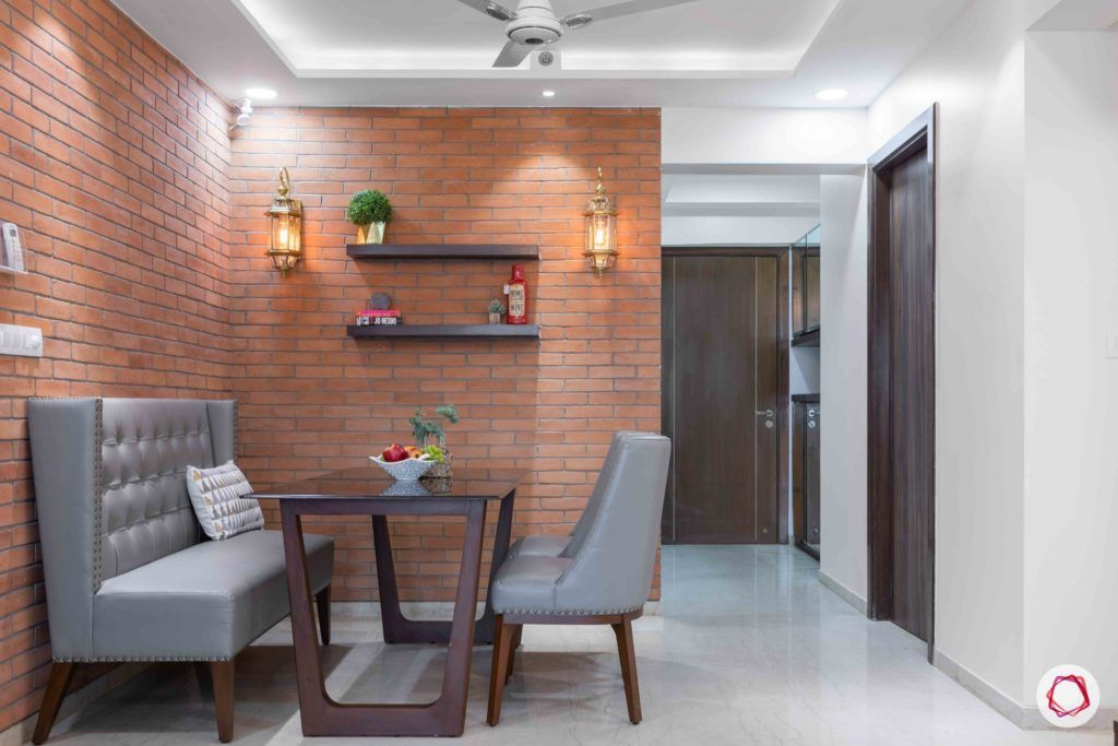 vaastu for homes-exposed brick wall designs-grey dining set designs