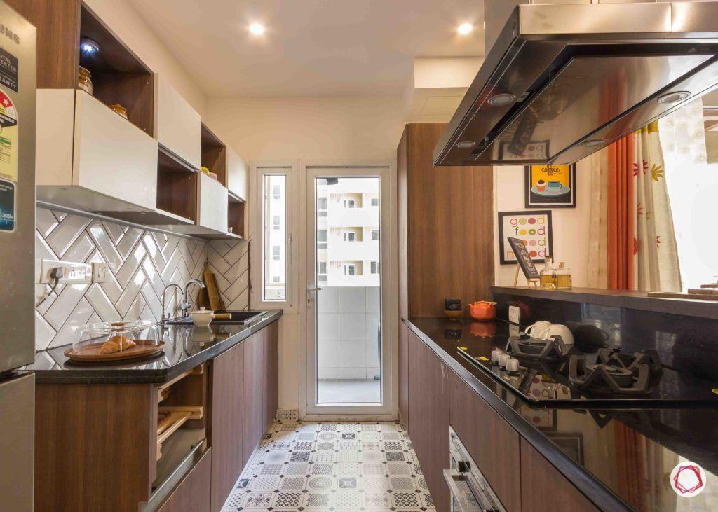 Floor Design-Patterned ceramic tiles-brown-white-cabinets-herringbone-backsplash