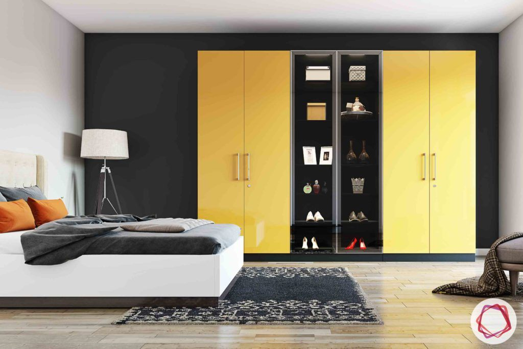 wardrobe-yellow-open-shelves-shoes-bed-lamp-rug
