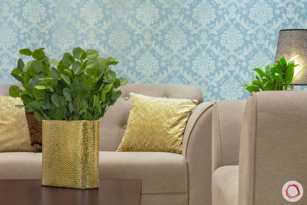indian living room-gold vase-gold cushion