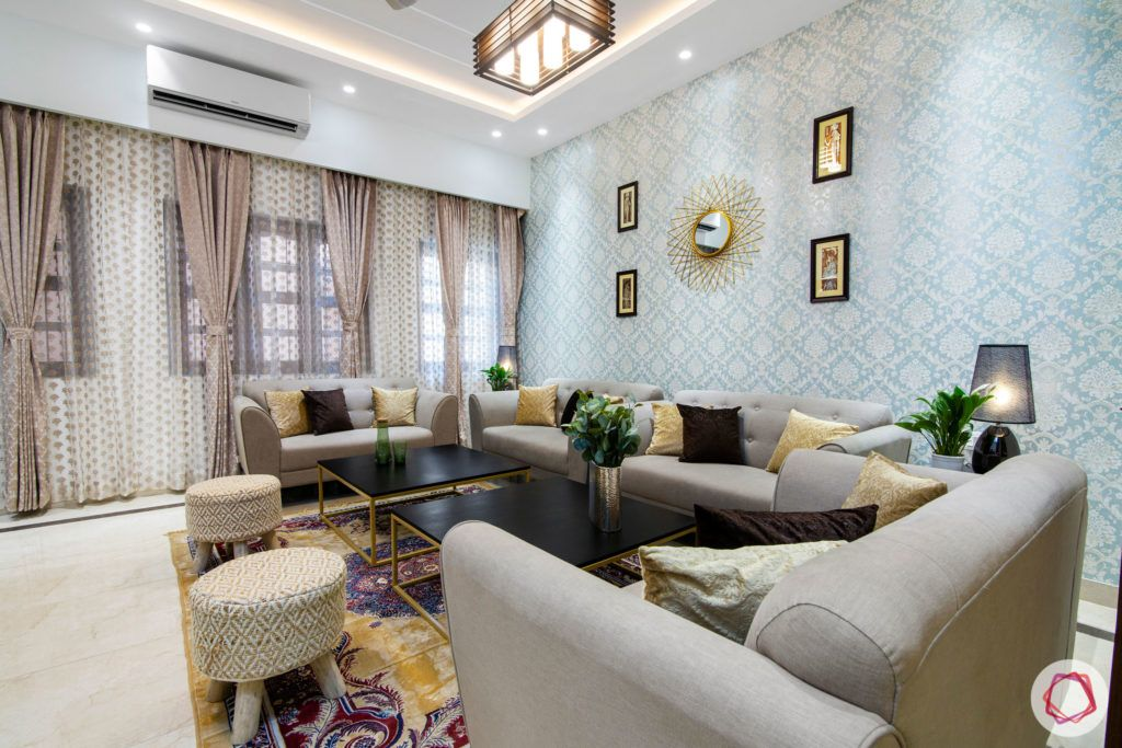 indian living room-brown cushions-wall mirror