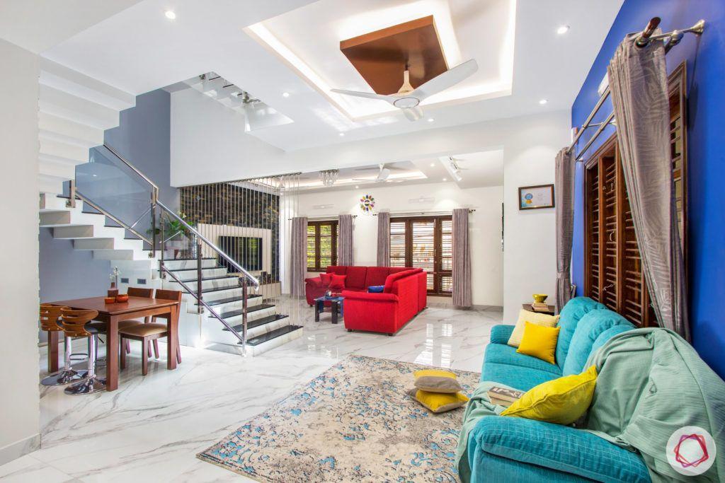 duplex house design-red sofa designs-blue sofa designs