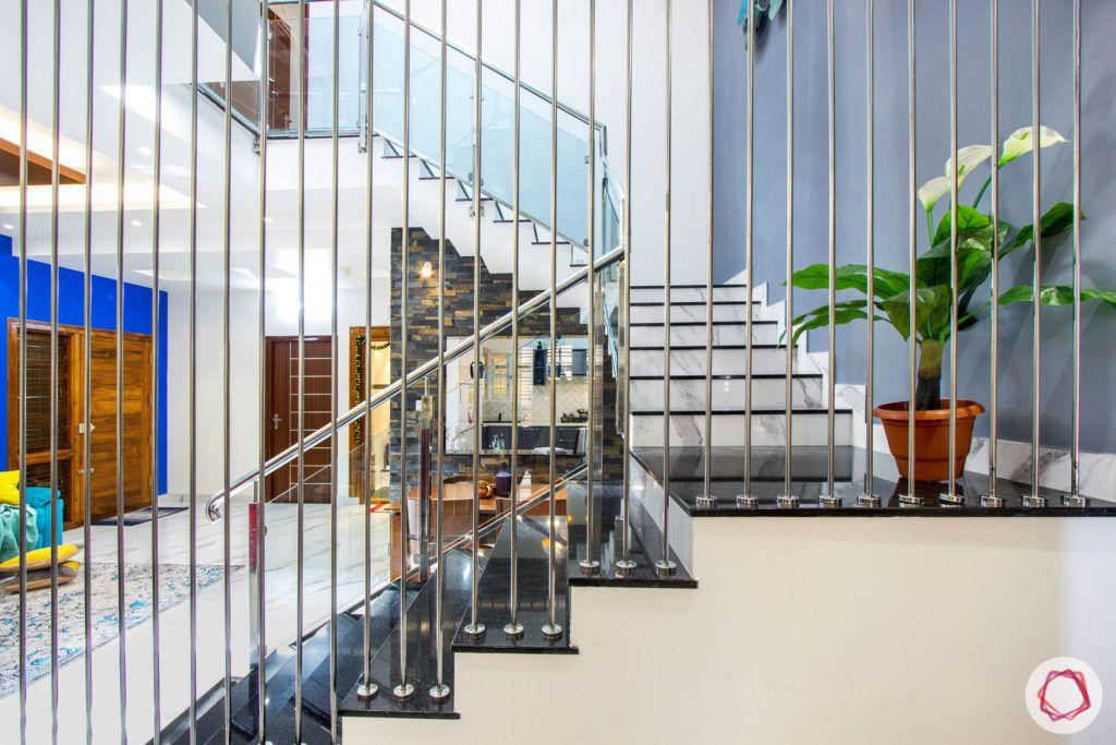 duplex house design-red sofa designs-stair designs